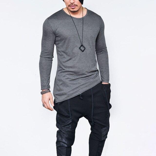 733f4db3c € 16.18 |2018 printemps Elargir Hip Hop T Shirt Hommes High Low Side Split  T shirts Manches Longues Tyga Swag drôle Homme T Shirt Ras Du Cou tissu ...