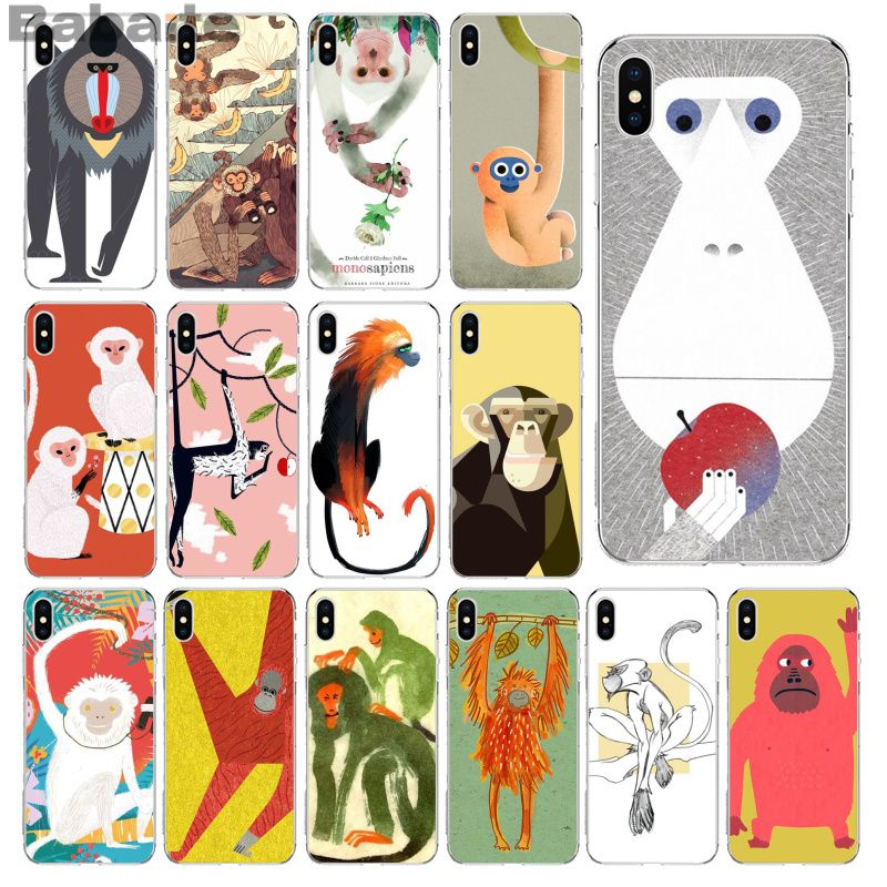Contemplative Babaite Animal Monkey Custom Photo Soft Phone Case For Iphone 5 5sx 6 7 7plus 8 8plus X Xs Max Xr Sale Overall Discount 50-70% Half-wrapped Case