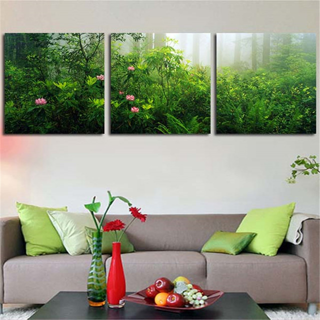 2017 3 Pieces Wall Canvas Painting For Living Room Natural Green Plant Home Decor Art Picture Poster Print No Framed
