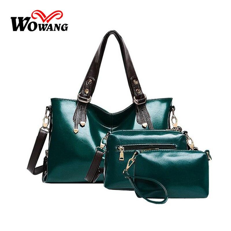 New 2016 Genuine oil Wax Leather Composite Bag Fashion Women Leather font b Handbag b font
