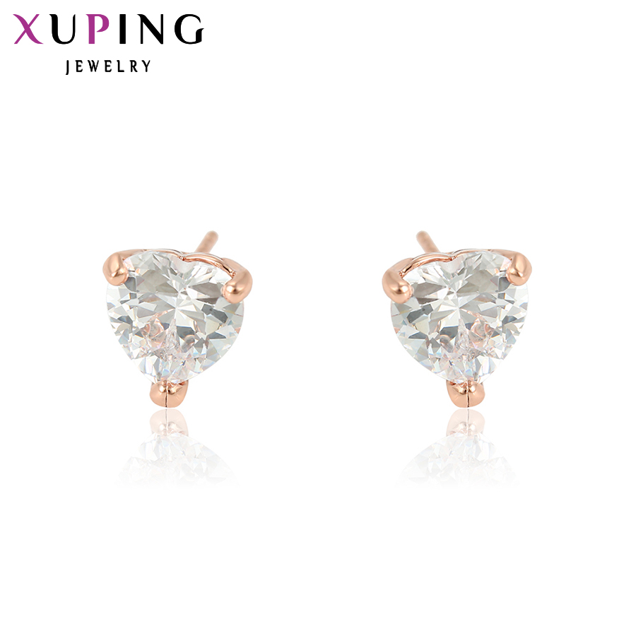 Xuping Fashion Earrings Heart Design Nuevo diseño Gold Color Plated Jewelry Wedding Stud Earrings para mujeres Special 21757