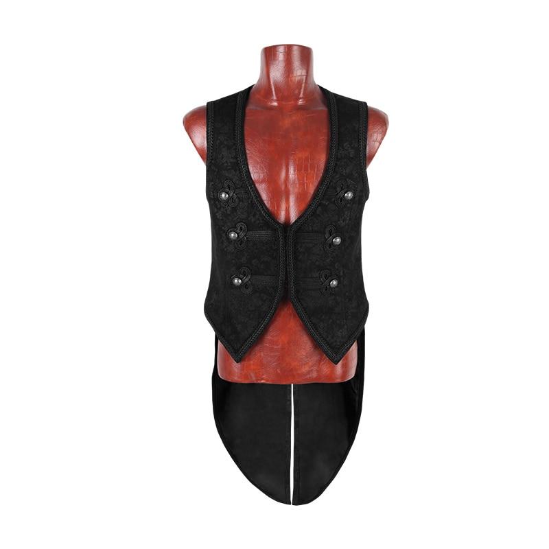 Steampunk Gothic Vintage Black Handsome Swallow Tail Men Vest Punk Fashion V-Neck Sleeveless With Pressed Flower Vest Jackets