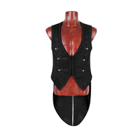 Steampunk Gothic Vintage Schwarz Hübsche Swallow Tail Männer Weste Punk Fashion V-ausschnitt Sleeveless Mit Gepresste Blume Weste Jacken