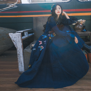 Image 5 - Vestido de lana azul de mujer moda Otoño Invierno 2017 Lotus manga encaje bordado mariposa dulce vestido de mujer