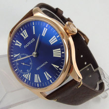 цена 44mm Parnis Blue Dial Luxury Brand Silver Hands Rose Golden Plated Case Luminous Marks Leather 6497 Hands Winding Men's Watch онлайн в 2017 году