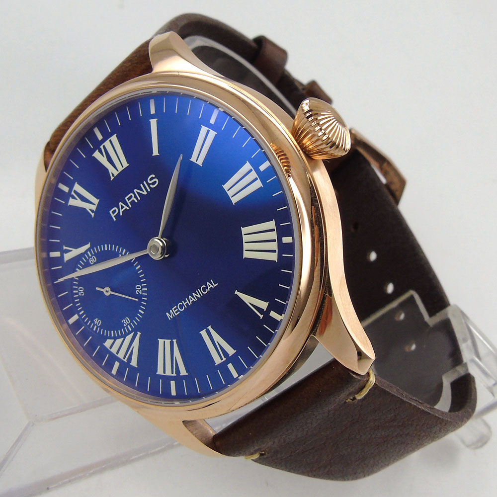 44mm Parnis Blue Dial Luxury Brand Silver Hands Rose Golden Plated Case Luminous Marks Leather 6497 Hands Winding Mens Watch
