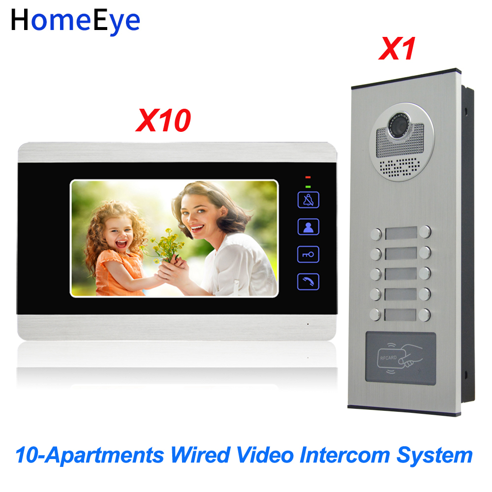 HomeEye 7'' 4-Wire Multi-House Video Door Phone Intercom 10-Apartments Door Bell Home Access Control System 1200TVL Touch Button