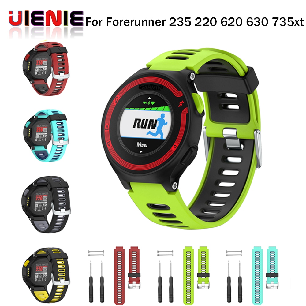 UIENIE New Replacement Silicone Watch Band Outdoor Sport Watchstrap for Garmin Forerunner 735XT/220/230/235/620/630 @JH forerunner 620 hrm