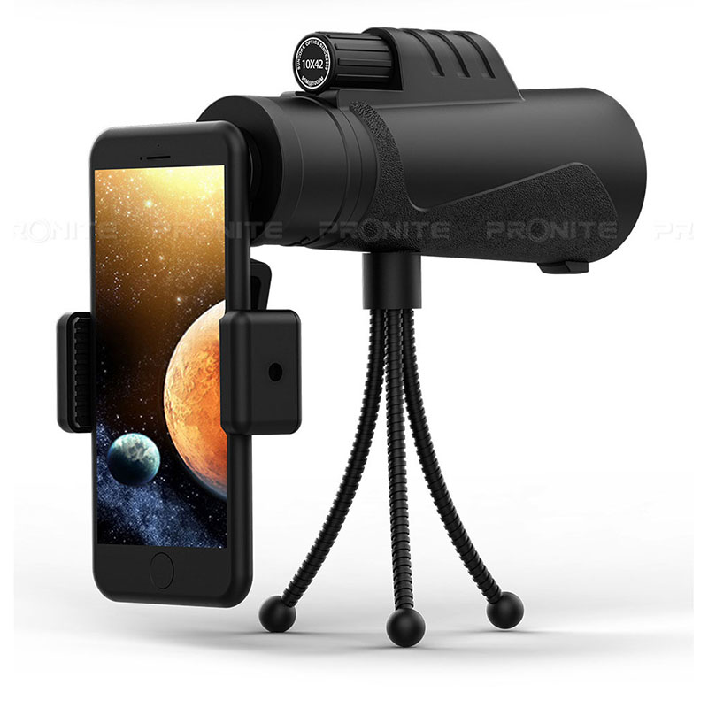 Professional Monocular 10X42 Optics Zoom Telescope HD Scope with Phone Holder Tripod Waterproof Hunting Turizm Opera Spyglass-in Monocular/Binoculars from Sports & Entertainment