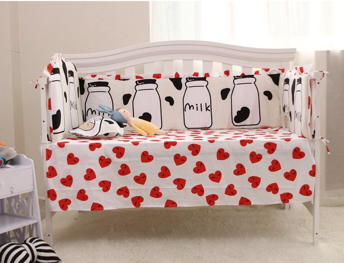 ФОТО 6PCS 100% Cotton baby crib bedding sets Children bed around ,include:(4bumpers+sheet+pillowcase)