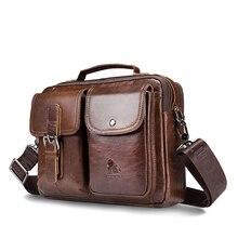 LAOSHIZI หนังแท้กระเป๋าถือผู้ชายกระเป๋า Cowhide Messenger กระเป๋า VINTAGE กระเป๋าถือชายธุรกิจ Tote
