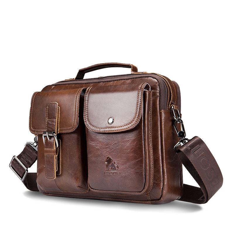 LAOSHIZI Genuine Leather Briefcase Men  Shoulder Bag Soft Cowhide Messenger Bag Vintage Male Handbags Business Tote-in Laptop Bags & Cases from Computer & Office