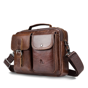 Image 1 - LAOSHIZI Genuine Leather Briefcase Men  Shoulder Bag Soft Cowhide Messenger Bag Vintage Male Handbags Business Tote