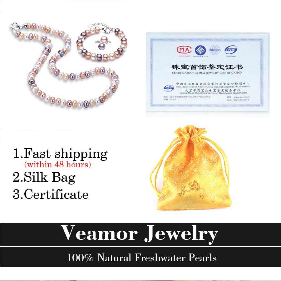 Veamor למעלה איכות טבעי פרל עגילים/צמיד/טבעת 925 סטרלינג כסף אבזם שרשרת צמיד עגיל ציצית תכשיטי סט 8-9