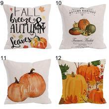 High quality Pumpkin Fall Harvest Design Linen Pillow Case Cushion Cover Sofa Bed Car Office Decor
