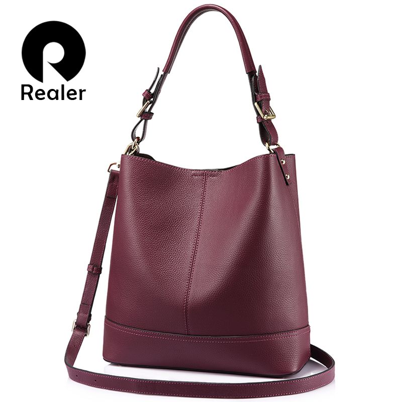 REALER bucket bag ladies genuine leather bag for women's bags large handbag female shoulder crossbody bag black tote 2 Pcs/Set