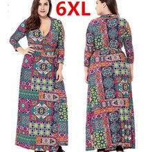 Plus Size 6XL Long Maxi Women Autumn Dresses Printed Flower Bohemian Loose Dress Robe Femme Vestidos