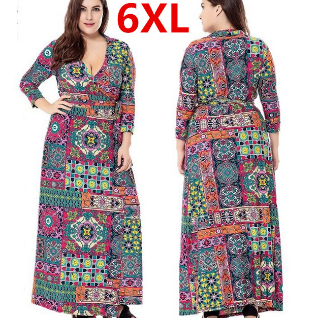 Plus Size 6XL Long Maxi Women Autumn Dresses Printed Flower Bohemian Loose Dress font b Robe