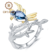 GEMS BALLET 0.84Ct Natural London Blue Topaz Gemstone Rings 925 Sterling Silver Handmade Bird on Branch  Ring for Women Bijoux