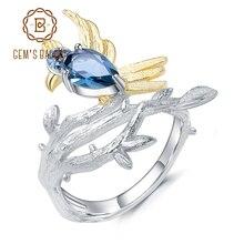 GEMS bale 0.84Ct doğal londra mavi topaz taş yüzükler 925 ayar gümüş el yapımı kuş şube halka kadınlar için Bijoux