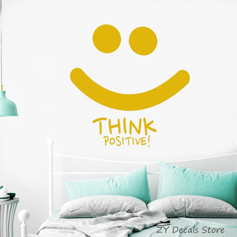Think Positive Smile Wall Decal Motivation Quotes Inspiration Wall ...