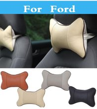 Car Neck Pillow Leather Auto Cushion Headrest Pillow Pad For Ford Fiesta Fiesta ST Five Hundred Flex Focus RS Focus ST Freestyle