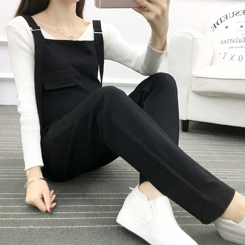 New Pregnant Women Autumn Spring Fashion Loose Black Pockets Rompers Bodysuit Maternity Work Clothes Trousers Pregnancy Clothes 2017 women bag female new winter fashion hit color double bread packet portable scrub small square messenger bag bolsa feminina