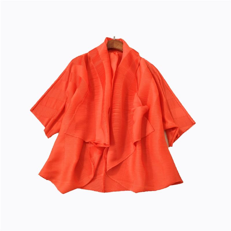 Automne gris Chauve hot kaki souris Plissé orange Pink Printemps De Fold Femmes Style Manches Manteau Noir Châle Et 7bgf6y