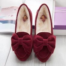 2016 Winter Women's Shoes Fur Nubuck Leather Shoes Bowtie Moccasins for Woman Plush Loafers Lady Flats Plus Size 41 42