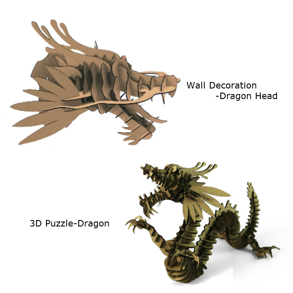 2 шт. голова дракона украшения стены Скульптура 3D головоломки голова животного картона поделки ручной работы украшения дома вечеринок