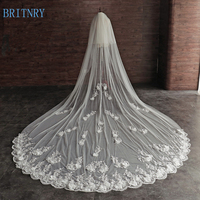 BRITNRY New Arrival Wedding Veil Two Layers Blusher Veil Lace Bridal Veil Ivory Long Train Cathedral Wedding Veil