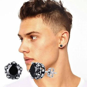 Male Stainless Steel 9mm Black Round CZ Stud Earrings For Men Jewelry in Black White.jpg 350x350 - Male Stainless Steel 9mm Black Round CZ Stud Earrings For Men Jewelry in Black White