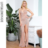 LOVE&LEMOANDE Sexy Rose Gold Deep V neck Halter Elastic Sequins Split Party maxi dress LM80119 1 LM80119 1