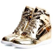 2016 mode argent et or haute-top dentelle-up casual chaussures hip-hop chaussures chaussures de femmes