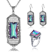 2017 New Fashion Women Engagement Crystal Pendant Earring Ring Luxury Lady Retro 925 Silver Mystic Topaz
