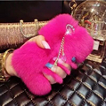 Pele Cabelo Do Coelho Rex verdadeiro Luxo de Pelúcia macia DIY bling do diamante Caso coque Para Samsung Galaxy S6 G9200 borda S6 G9250 Fundas Carcasa