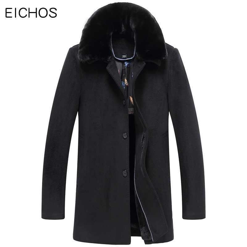EICHOS Winter Mans Wool Blends Coat Warm Velvet Fur Collar Long Styel Overcoat Men Slim Fit Business Casual Male Pea Coat W7007