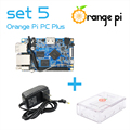 Orange pi pc plus set5: orange pi pc plus + caso abs + fonte de alimentação sobre raspberry pi transparente