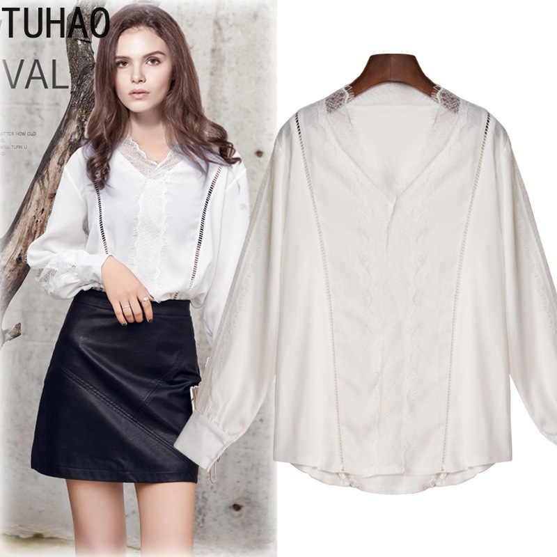 2019 сезон: весна-лето для женщин Топ с длинным рукавом Элегантный белый черный кружевная блузка Femme выдалбливают дамы Офис рубашка Blusas MKFS