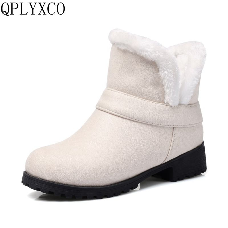 QPLYXCO Plus fashion boots winter New Short Boots Small Big size 33-48 shoes woman ankle snow boot Plush Warm women shoes C9-56 plus size 46 mens casual high top shoes winter warm plush ankle boots men shoes outdoor fashion cotton shoes mountain zapatos