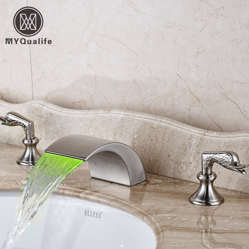 Brushed Nickel LED Light Widespread Basin Sink Faucet Two Handles Curved Shape Mixer with Hot and Cold Water pastoralism and agriculture pennar basin india