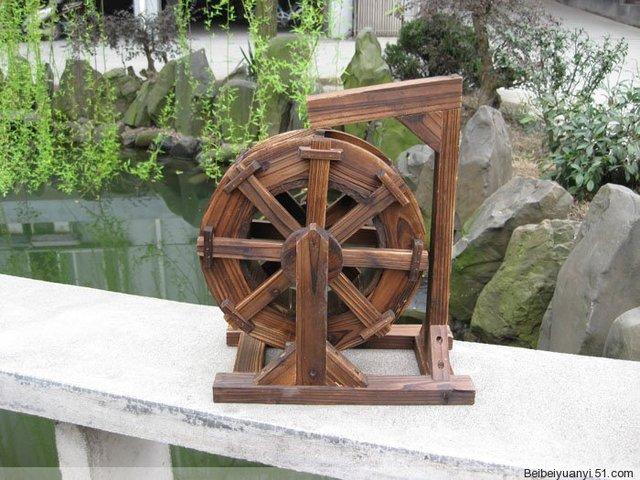 Wooden Windmill Mills Wooden Garden Products Rurality Wheeled Diameter 30 CM