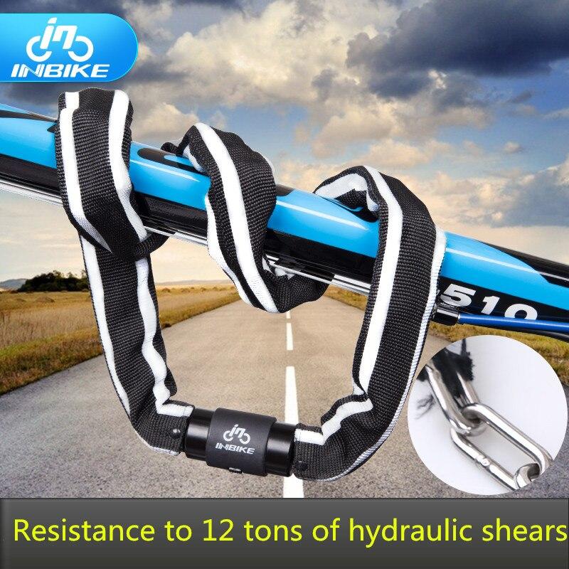ФОТО Inbike bicycle lock anti-theft chain lock reflective cloth cover anti-cut 12 hydraulic shear  MTB bike lock motorcycle lock