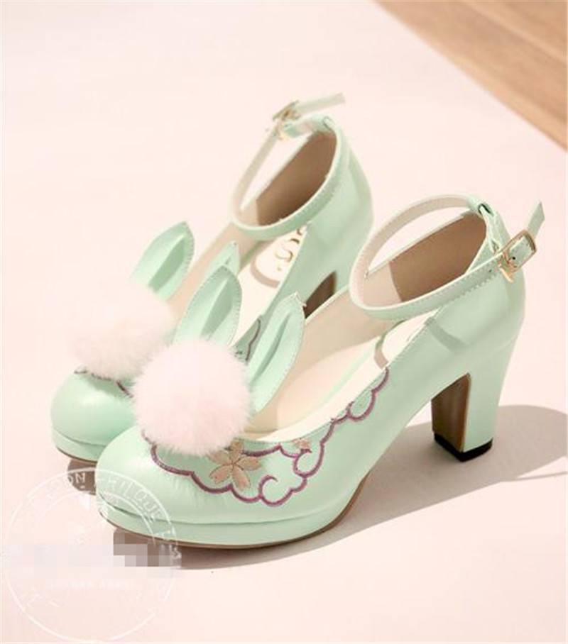 Lolita Shoes Japanese Sweet Shoes Princess Cute Girl Cos Cosplay High-heeled Shoes mori girl japanese cute bow buckle students single shoes school uniform jk leather shoes cross straps lolita princess shoes page 3