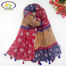 купить 1PC 2017 Summer New Design Fashion Cotton With Birds Printed Women Long Tassels Scarf Thin Woman New Viscose Big Pashminas Shawl дешево