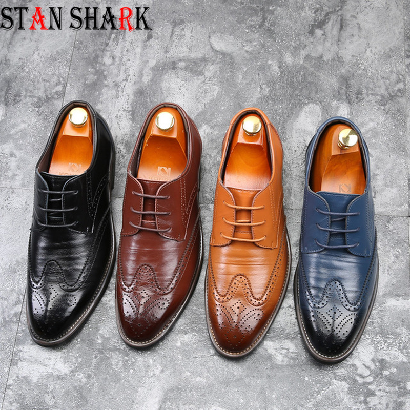 New Men Oxford Genuine Leather Rubber Dress Shoes Brogue Lace Up Flats Male Casual Shoes Black Brown Size 38-48