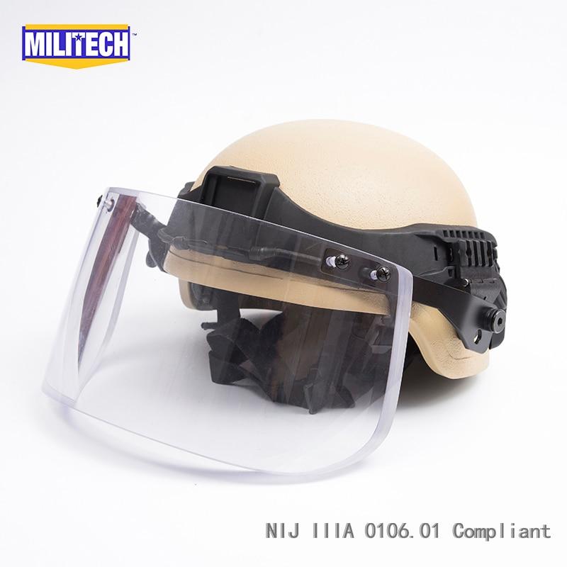 Militech DE ACH Mich Full Cut NIJ IIIA 3A Kevlar Ballistic Bullet Proof Bulletproof Helmet With Tactical Visor Railband Set Deal