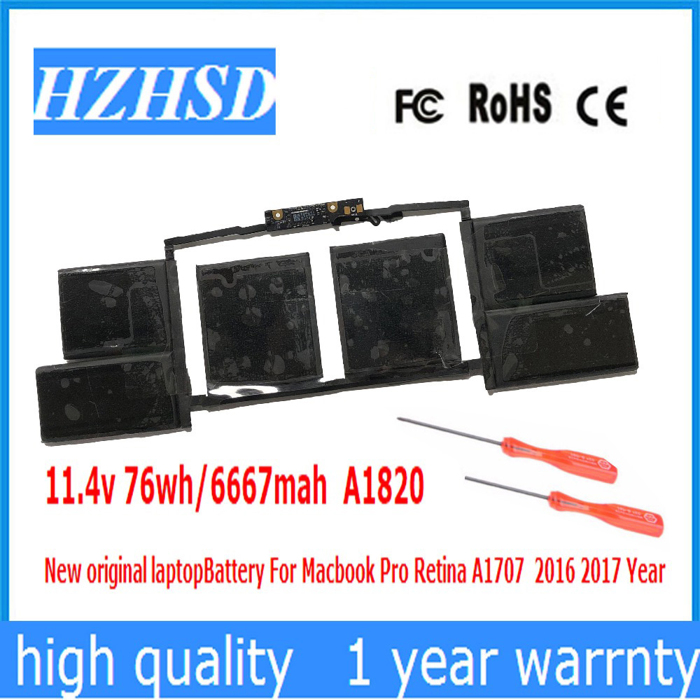 11.4v 76wh/6667mah A1820 New original laptop Battery For Macbook Pro Retina A1707 2016 2017 Year image