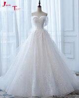 Jark Tozr למכור חם את כתף שמלות כלה לבנה Vestidos דה רנדה ואגלי נצנצים תחרת שמלות כלה 2018 Alibaba סין