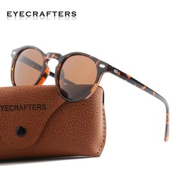eb0afac1f6 TR90 ligero tortuga marrón gafas hombres mujeres Vintage clásico Retro gafas  de sol polarizadas gafas de sol redondas de gafas